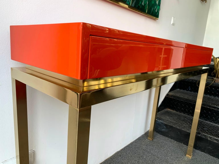 French Lacquered and Brass Console by Guy Lefevre, France, 1970s For Sale