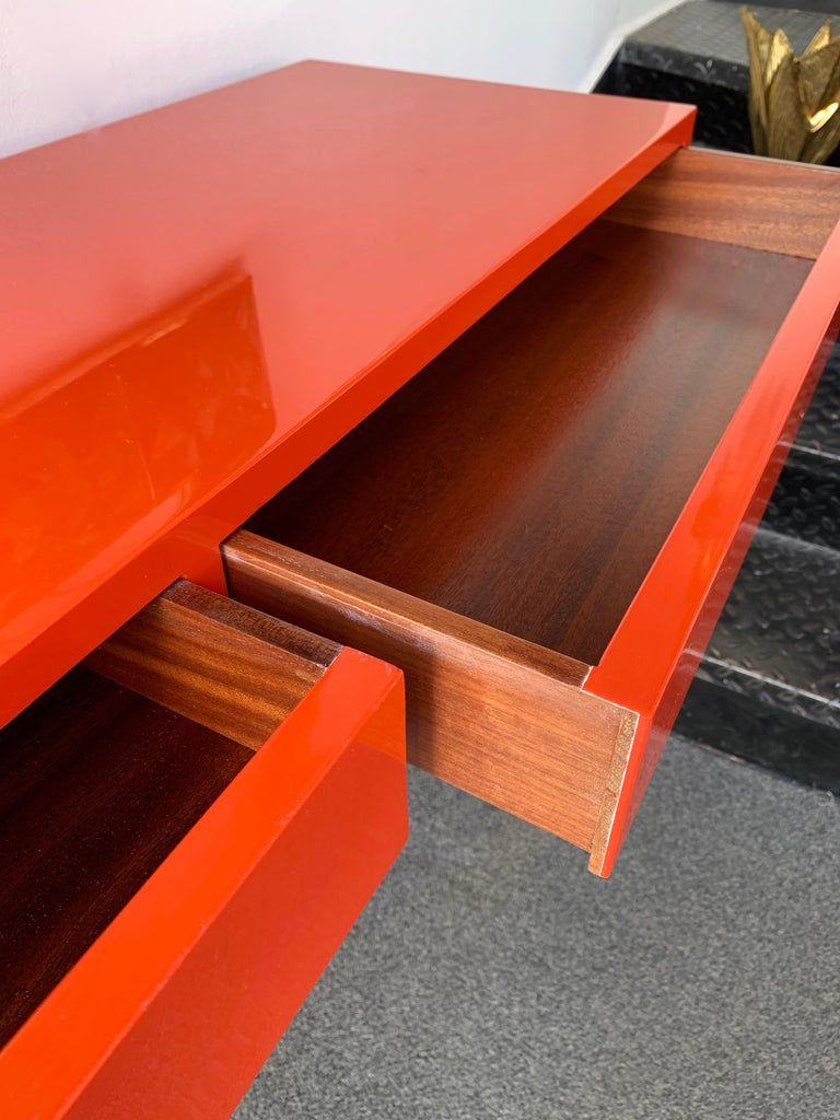 Lacquered and Brass Console by Guy Lefevre, France, 1970s In Good Condition For Sale In SAINT-OUEN, FR