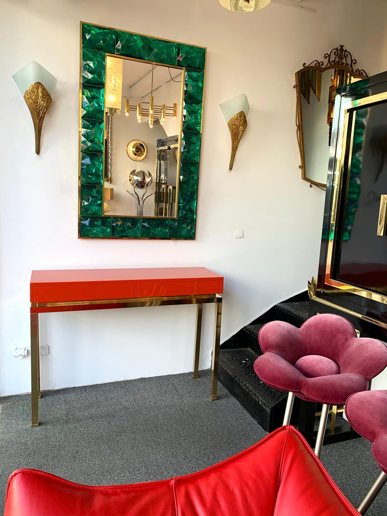 Late 20th Century Lacquered and Brass Console by Guy Lefevre, France, 1970s For Sale