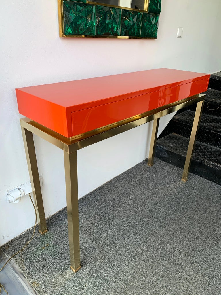 Wood Lacquered and Brass Console by Guy Lefevre, France, 1970s For Sale