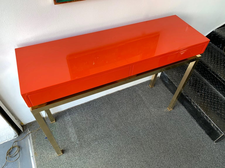 Lacquered and Brass Console by Guy Lefevre, France, 1970s For Sale 1