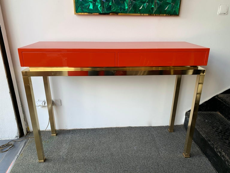 Lacquered and Brass Console by Guy Lefevre, France, 1970s For Sale 2