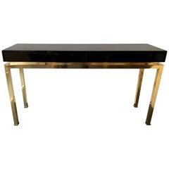Lacquered and Brass Console by Guy Lefevre, France, 1970s