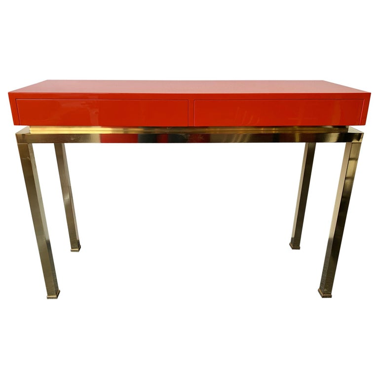 Lacquered and Brass Console by Guy Lefevre, France, 1970s For Sale