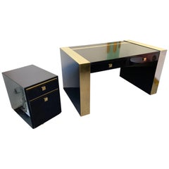 Lacquered and Brass Desk Side Box by Jean Claude Mahey, France, 1970s