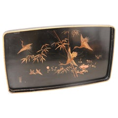 Lacquered and Painted Wood Tray with Chinoiserie Decoration