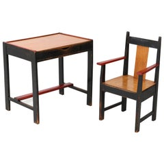 Lacquered Art Deco Haagse School Children's Table and Armchair by Cor Alons