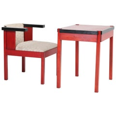 Lacquered Art Deco Haagse School Writing Table and Armchair by Frits Spanjaard