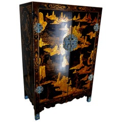 Lacquered Black Cabinet with Cloisonné Pulls