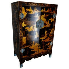 Lacquered Black Cabinet with Enameled Pulls, 20th Century