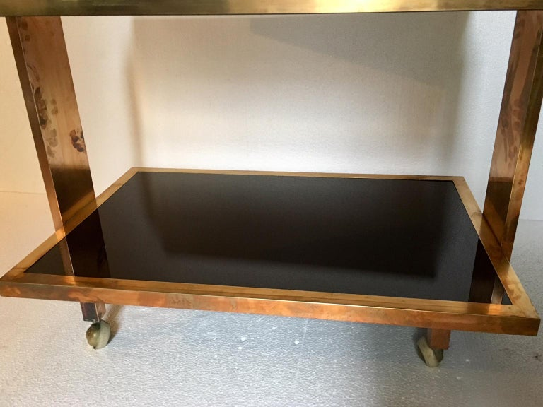 Mid-Century Modern Lacquered Brass Bar Cart Mahey Style For Sale