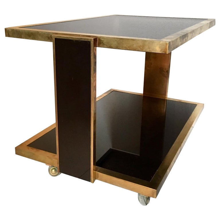 Lacquered Brass Bar Cart Mahey Style For Sale