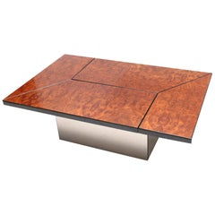 Lacquered Burl Veneer Sliding Coffee Table with Hidden Dry Bar by Paul Frank