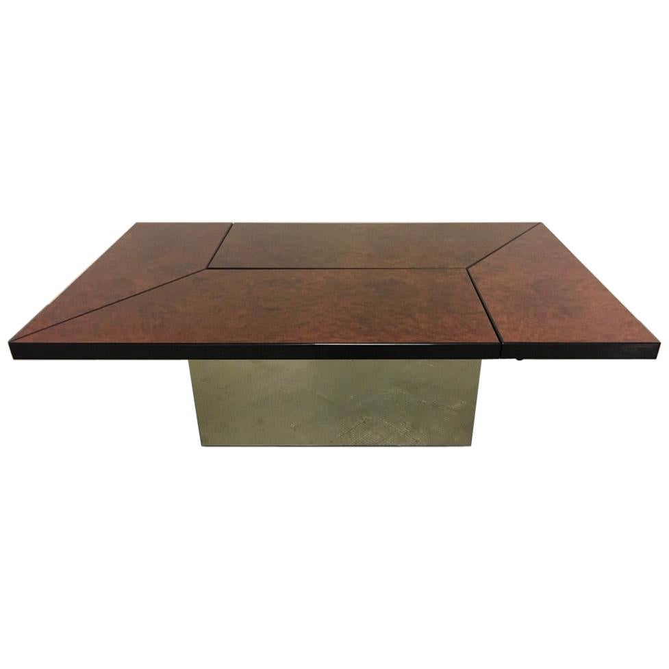 Lacquered Burl Wood Sliding Top Coffee Table Bar, Paul Michel France circa 1970s