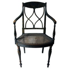 Lacquered and Chinoiserie Decorated Elbow Chair by Druce and Co Ltd, circa 1910