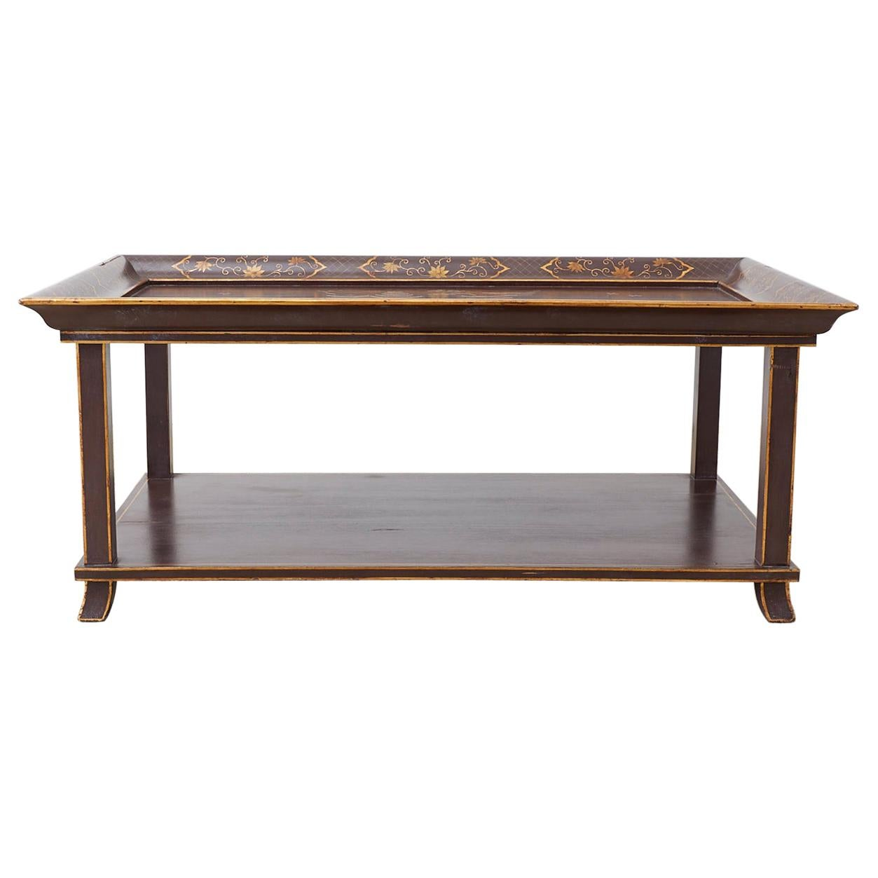 Lacquered Chinoiserie Style Two-Tier Cocktail Table