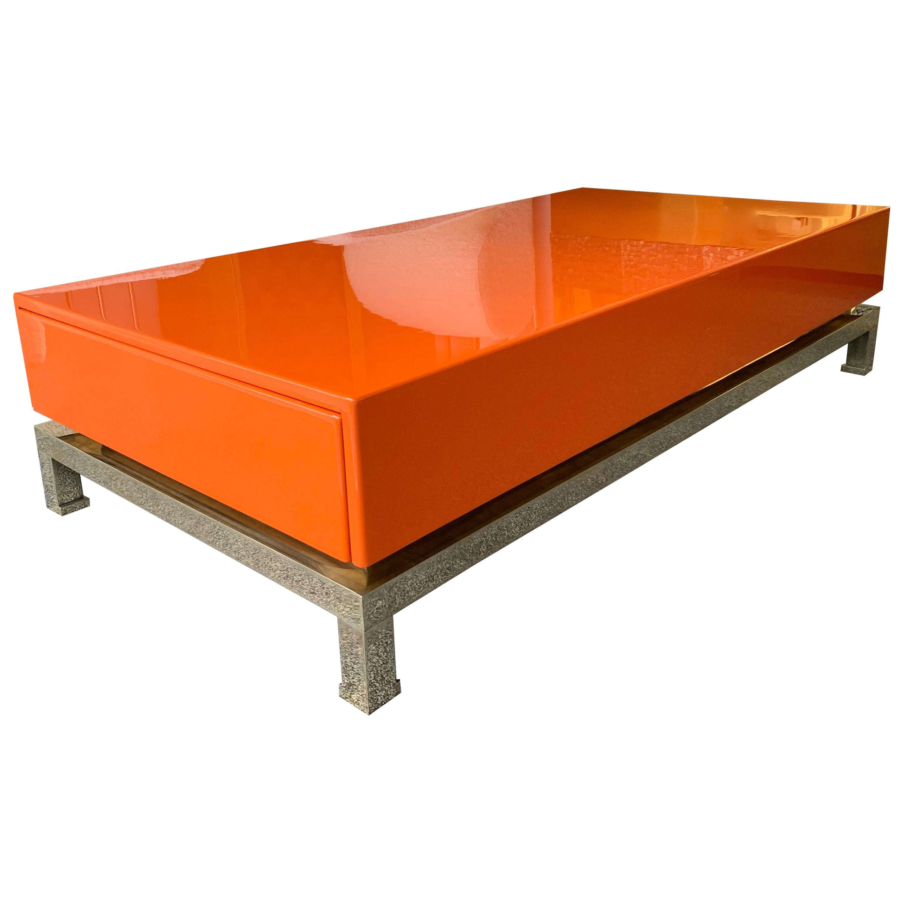 Lacquered Coffee Table and Brass by Guy Lefevre, France, 1970s