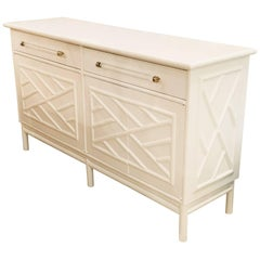 Lacquered Credenza Buffet Sideboard Rattan Faux Bamboo Lucite and Brass