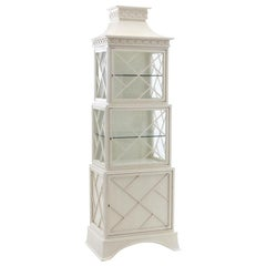 Lacquered Fretwork Chinoiserie Pagoda Lighted Display Cabinet