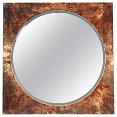 Lacquered Goat Skin Mirror by Aldo Tura