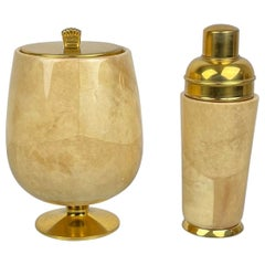 Lacquered Goatskin and Brass Ice Bucket and Shaker by Aldo Tura, Italy, 1950s