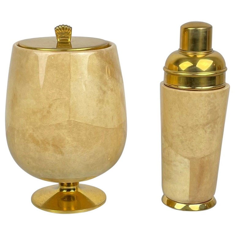 Lacquered Goatskin and Brass Ice Bucket and Shaker by Aldo Tura, Italy, 1950s For Sale