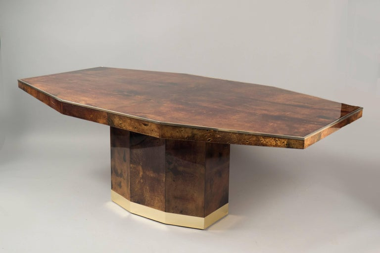 Mid-Century Modern Lacquered Goatskin Dining Table by Aldo Tura, Italy, 1960s For Sale