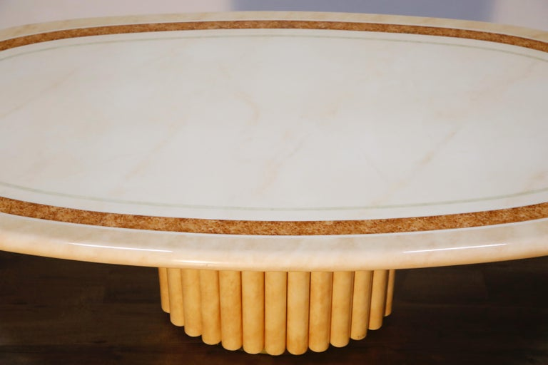 Lacquered Goatskin Dining Table by Jean Claude Mahey, 1970s France, Signed For Sale 3