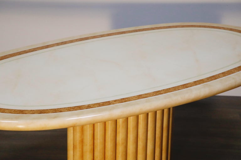 Lacquered Goatskin Dining Table by Jean Claude Mahey, 1970s France, Signed For Sale 7