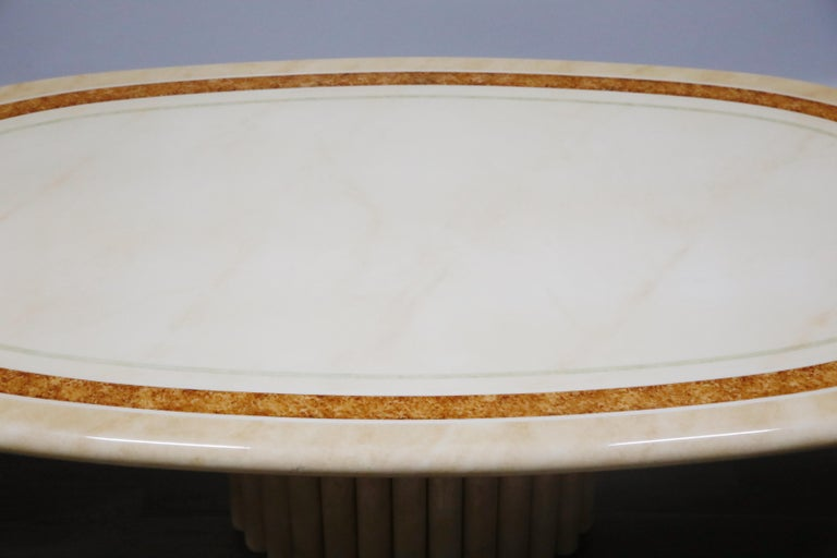 Lacquered Goatskin Dining Table by Jean Claude Mahey, 1970s France, Signed For Sale 11