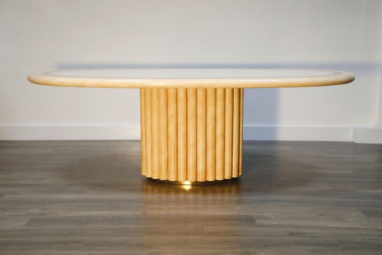 Such incredible detail in this large oval dining table designed by French designer, Jean Claude Mahey. Designed and crafted in the 1970s in France, and signed by Jean Claude Mahey (J.C. Mahey) on the base, this is not just a prime collectors item -