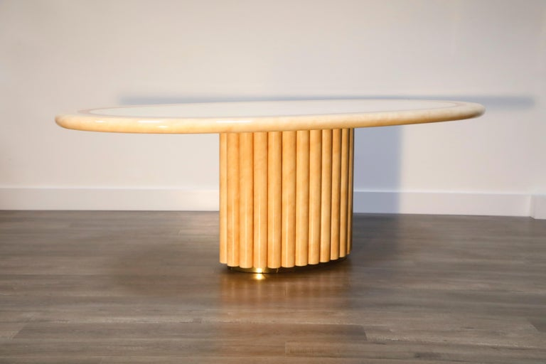 Late 20th Century Lacquered Goatskin Dining Table by Jean Claude Mahey, 1970s France, Signed For Sale
