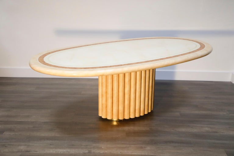 Brass Lacquered Goatskin Dining Table by Jean Claude Mahey, 1970s France, Signed For Sale
