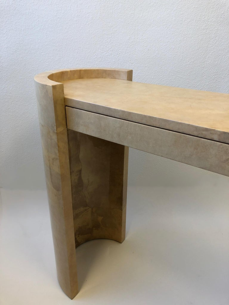 Lacquered Goatskin Parchment Console Table by Karl Springer For Sale 5