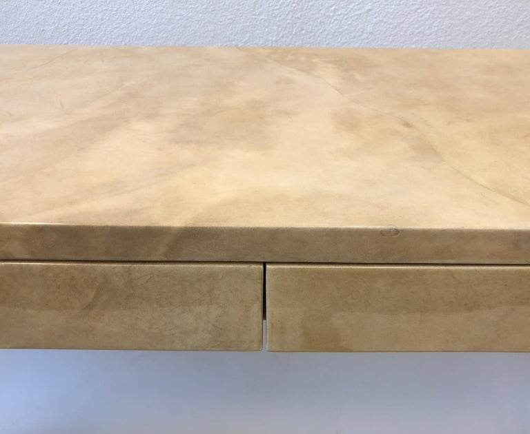 Lacquered Goatskin Parchment Console Table by Karl Springer For Sale 6