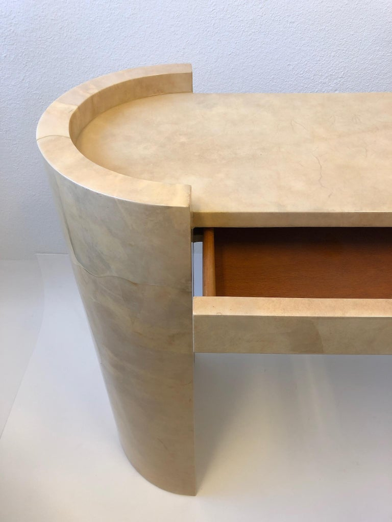 Lacquered Goatskin Parchment Console Table by Karl Springer For Sale 8