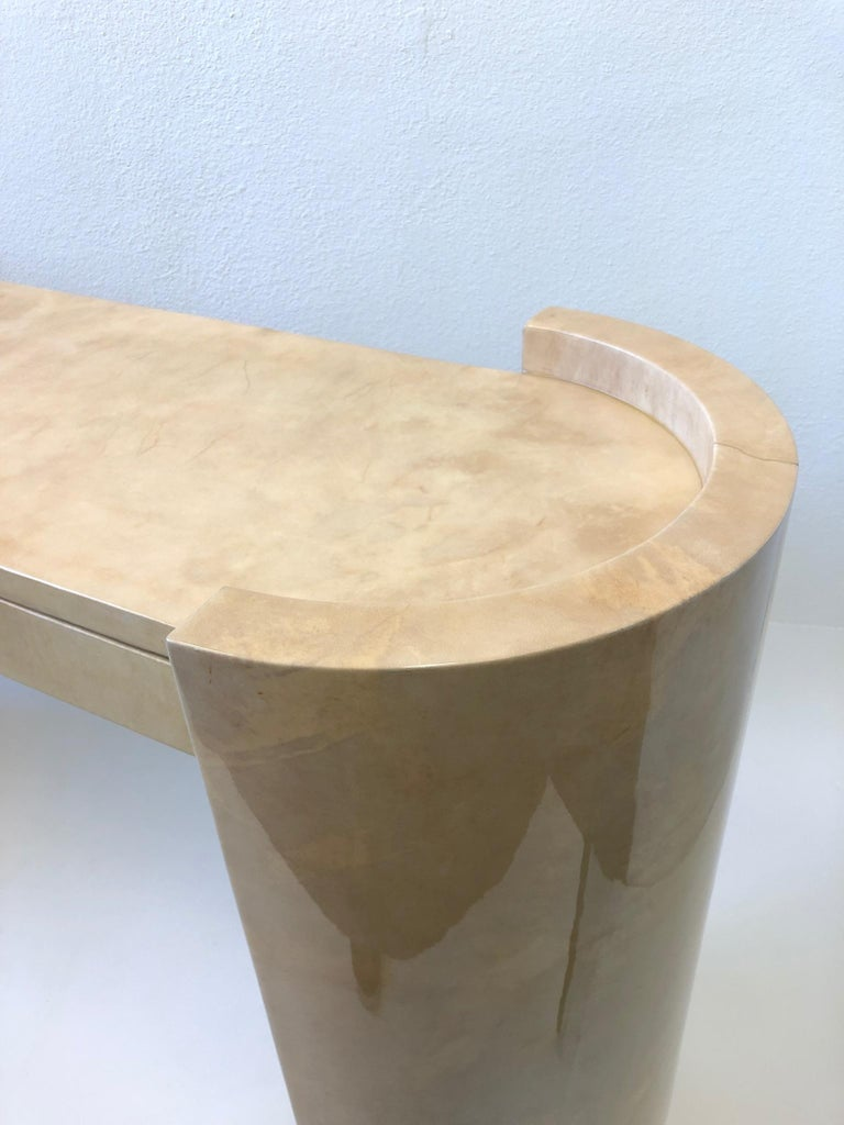 Lacquered Goatskin Parchment Console Table by Karl Springer For Sale 9