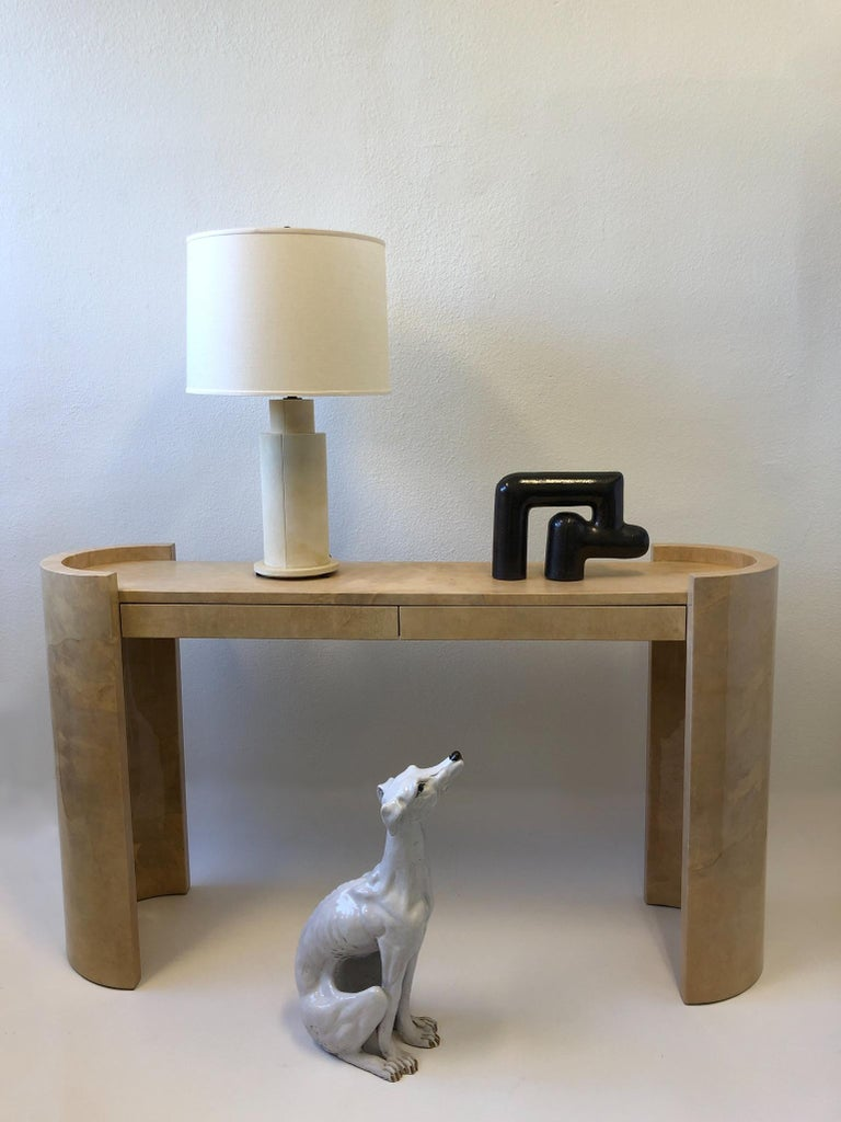 Lacquered Goatskin Parchment Console Table by Karl Springer For Sale 10