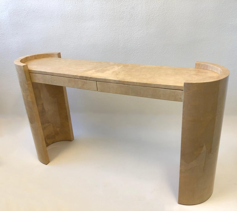 Modern Lacquered Goatskin Parchment Console Table by Karl Springer For Sale