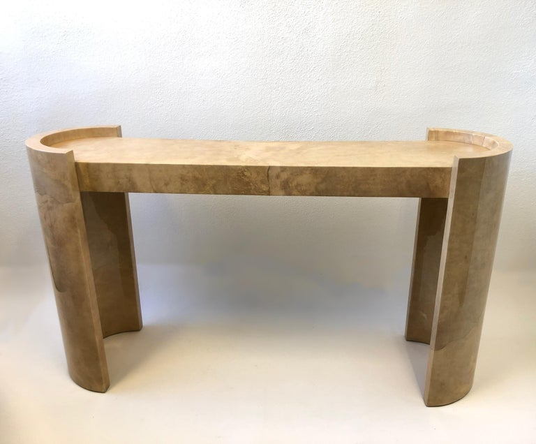 American Lacquered Goatskin Parchment Console Table by Karl Springer For Sale