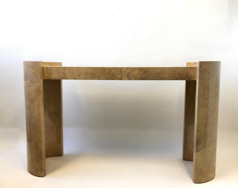 Lacquered Goatskin Parchment Console Table by Karl Springer In Good Condition For Sale In Palm Springs, CA