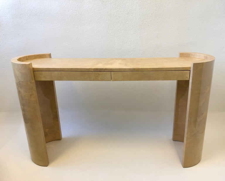 Late 20th Century Lacquered Goatskin Parchment Console Table by Karl Springer For Sale