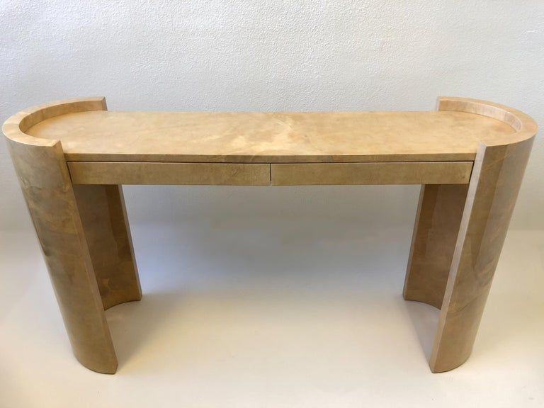 Lacquered Goatskin Parchment Console Table by Karl Springer For Sale 1