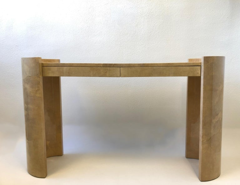 Lacquered Goatskin Parchment Console Table by Karl Springer For Sale 2