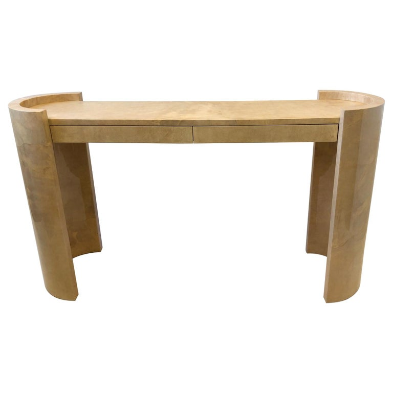 Lacquered Goatskin Parchment Console Table by Karl Springer For Sale