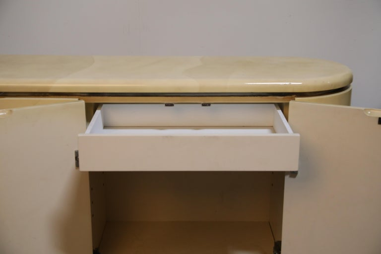 Lacquered Goatskin with Brass Detail Sideboard Style of Karl Springer, 1970s For Sale 6