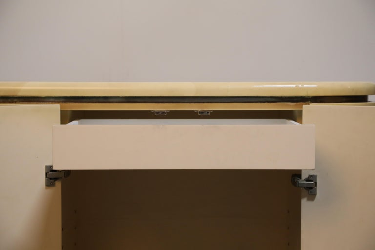 Lacquered Goatskin with Brass Detail Sideboard Style of Karl Springer, 1970s For Sale 8