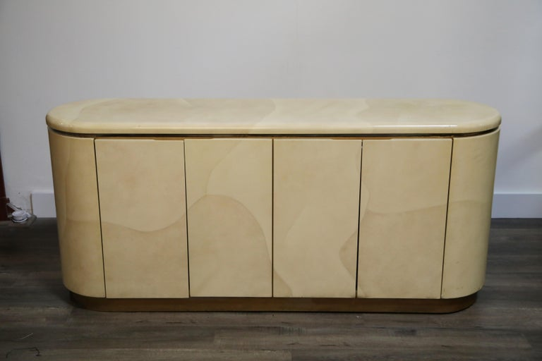 Lacquered Goatskin with Brass Detail Sideboard Style of Karl Springer, 1970s For Sale 9