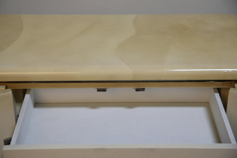 Lacquered Goatskin with Brass Detail Sideboard Style of Karl Springer, 1970s For Sale 10