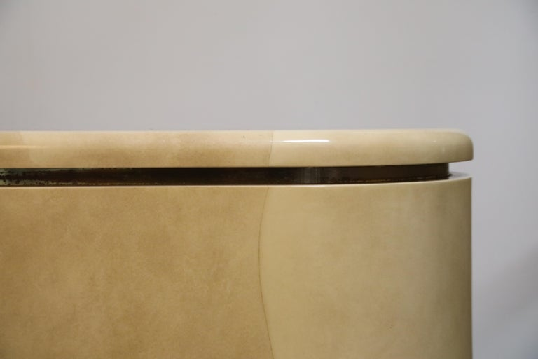 Lacquered Goatskin with Brass Detail Sideboard Style of Karl Springer, 1970s For Sale 11
